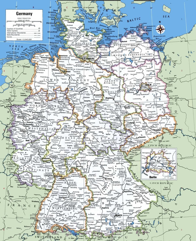Carte Allemagne Bielefeld.Carte De L Allemagne Avec Les Villes Allemagne Principales